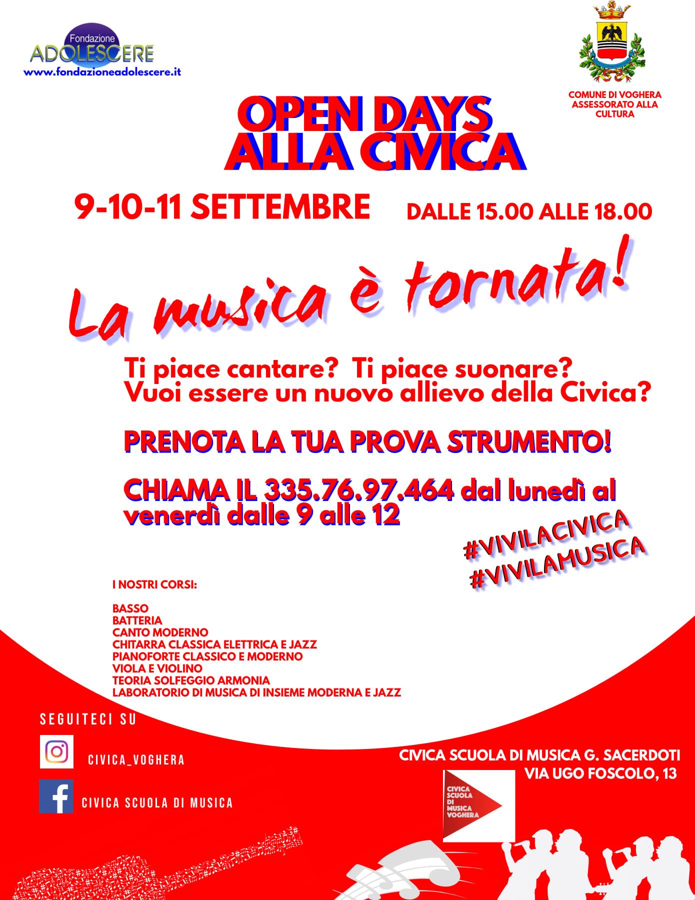 OPEN DAY Alla Civica Scuola Di Musica