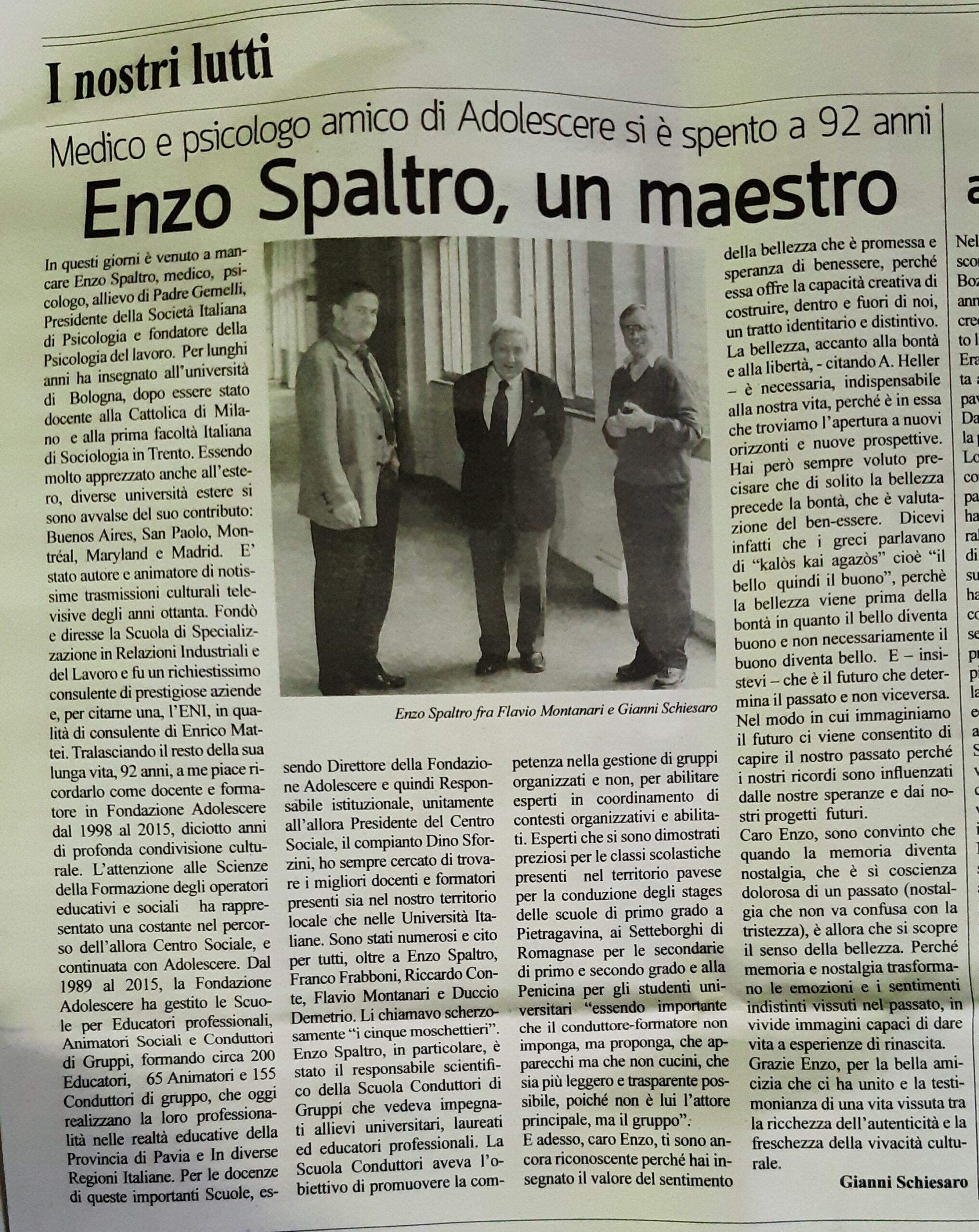 Enzo Spaltro, Un Maestro